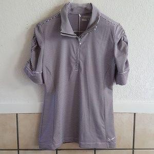 Nike Golf womens rused sleeve striped shirt Size M